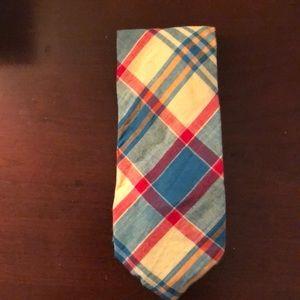 J. Crew silk Plaid stripe yellow gold checker tie